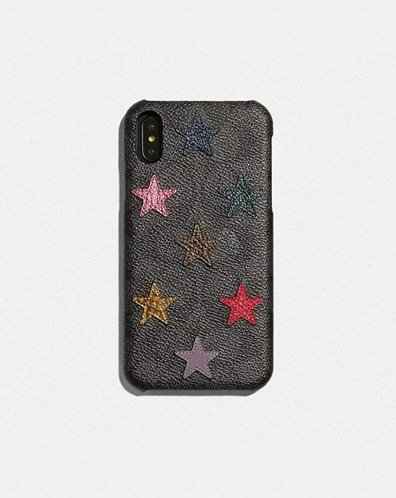Coach IPHONE XR CASE IN SIGNATURE CANVAS WITH STAR PRINT AND SNAKESKIN DETAIL