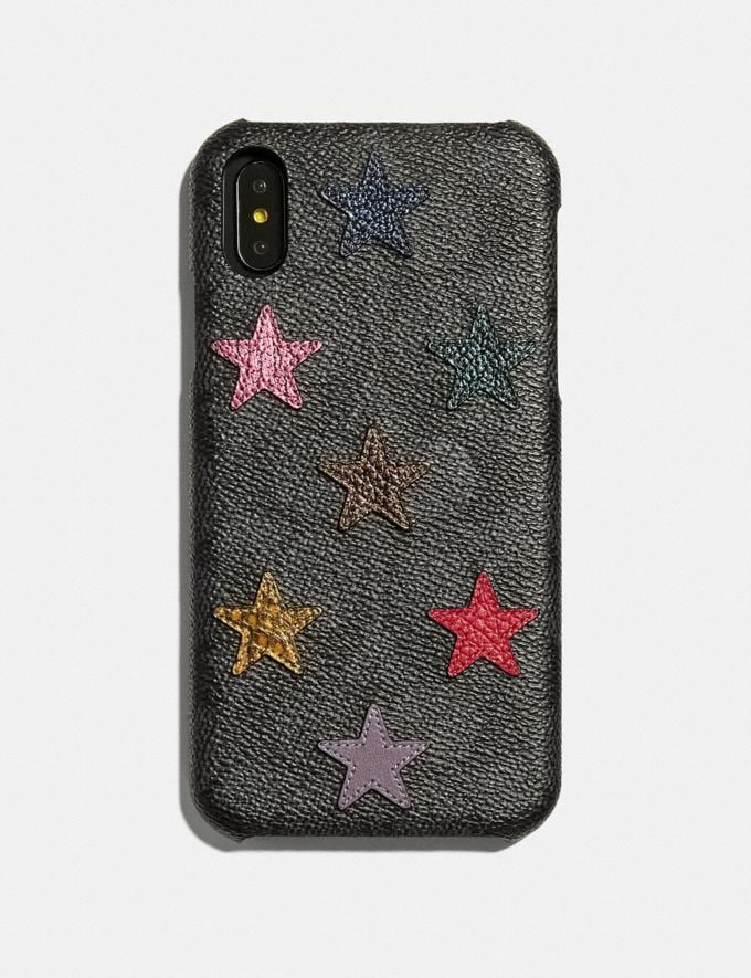 Coach iPhone Xr Case in Signature Canvas With Star Print and Snakeskin Detail Multi/Black Women Accessories Tech & Travel