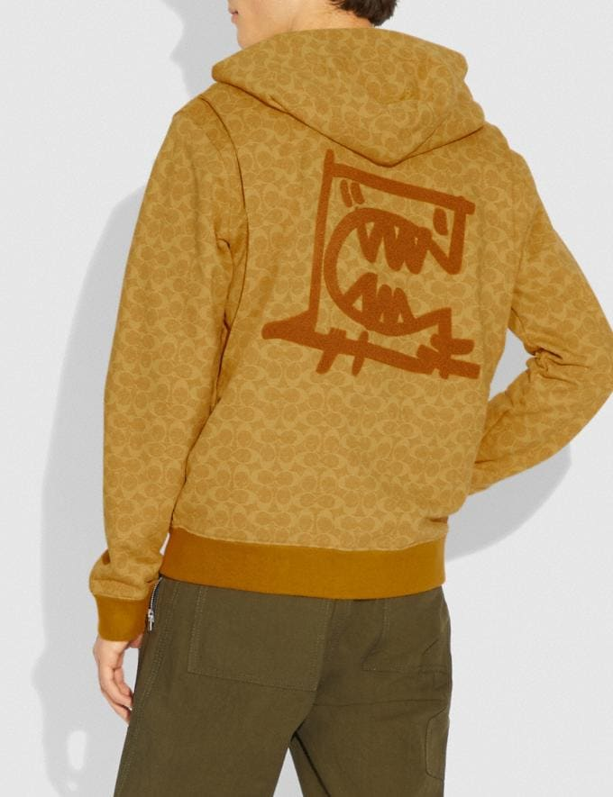 Coach Signature Rexy by Guang Yu Hoodie Yellow Men Ready-to-Wear Tops & Bottoms Alternate View 2