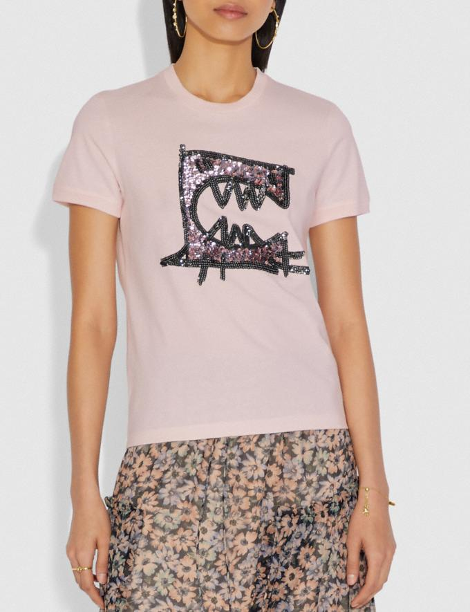 Coach Rexy by Guang Yu Short Sleeve T-Shirt Blush Pink Women Ready-to-Wear Tops Alternate View 1