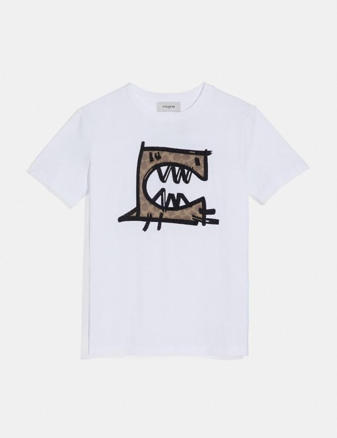 Coach Signature Rexy by Guang Yu T-Shirt Optic White Women Ready-to-Wear Tops