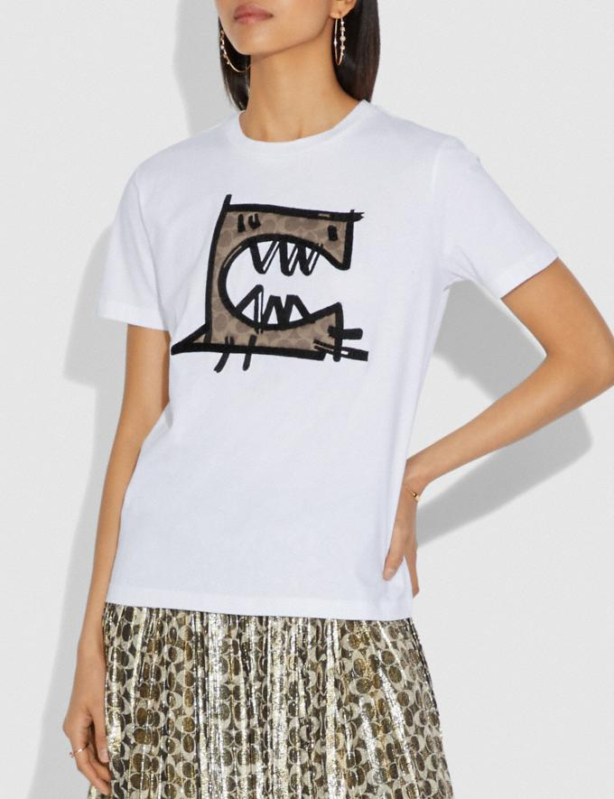 Coach Signature Rexy by Guang Yu T-Shirt Optic White SALE Women's Sale Ready-to-Wear Alternate View 1