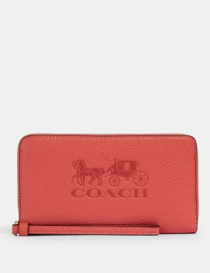 Coach Jes Large Phone Wallet Im/Bright Coral Accessories