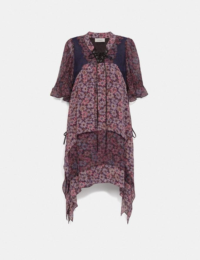 Coach Mini Tiered Dress With Lacing Fuschia/Brown