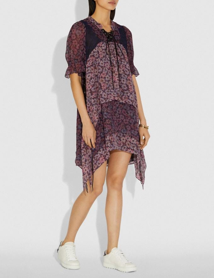 Coach Mini Tiered Dress With Lacing Fuschia/Brown  Alternate View 1