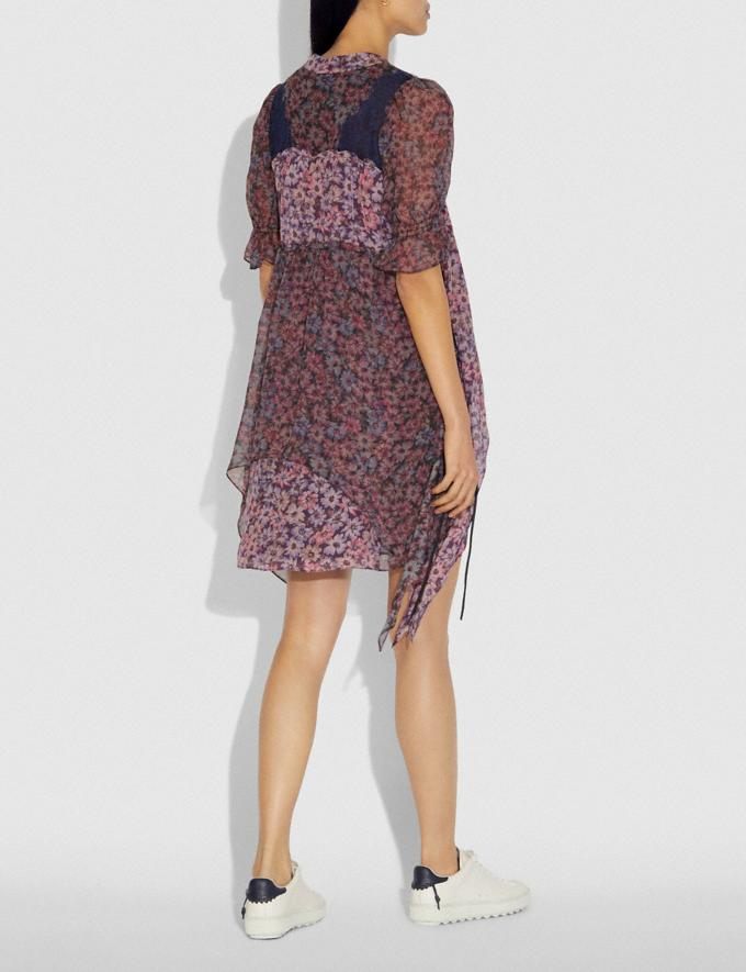 Coach Mini Tiered Dress With Lacing Fuschia/Brown  Alternate View 2