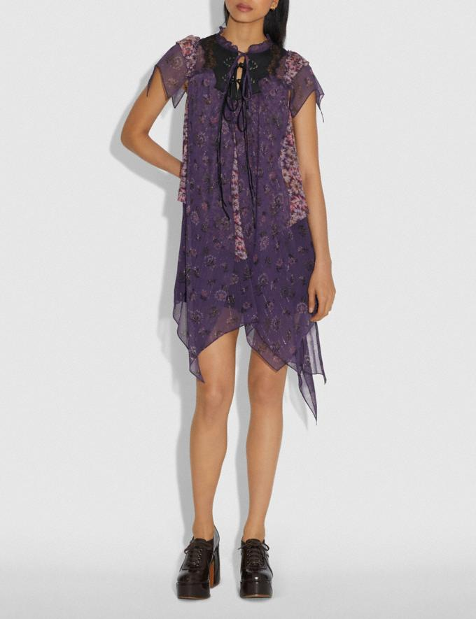 Coach Mini Tiered Dress With Ruffle Sleeve Purple Women Ready-to-Wear Dresses Alternate View 1