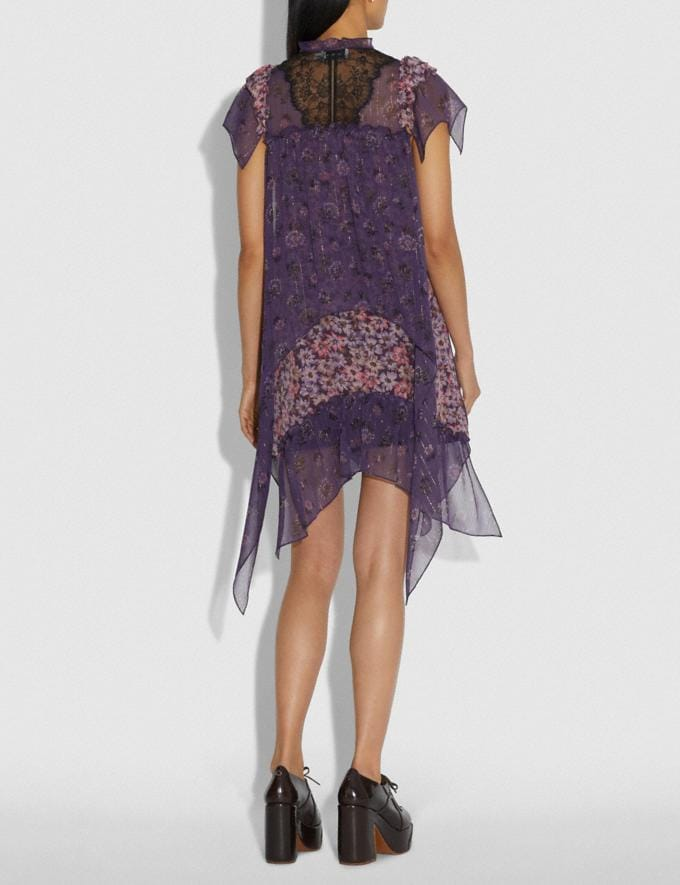 Coach Mini Tiered Dress With Ruffle Sleeve Purple Women Ready-to-Wear Dresses Alternate View 2