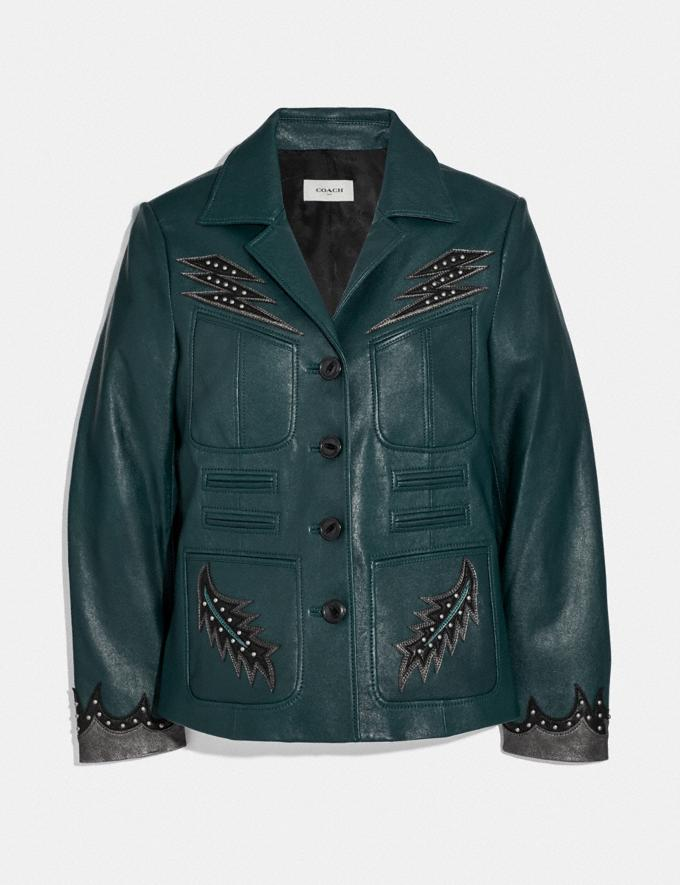 Coach Stage Craft Leather Jacket Teal Women Ready-to-Wear Coats & Jackets