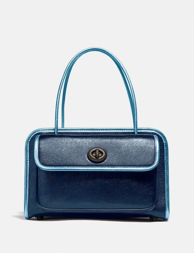 Coach Kiko Safari Tote in Metallic V5/Metallic Dark Blue Cyber Monday Online Only Cyber Monday Sale Bags