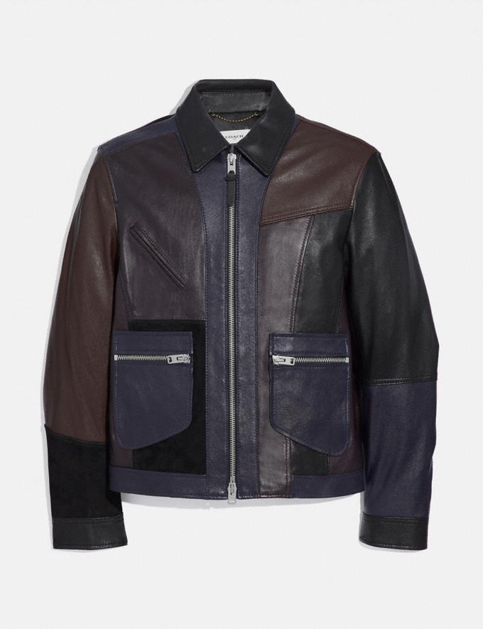 Coach Pieced Leather Jacket Berry Men Ready-to-Wear Coats & Jackets