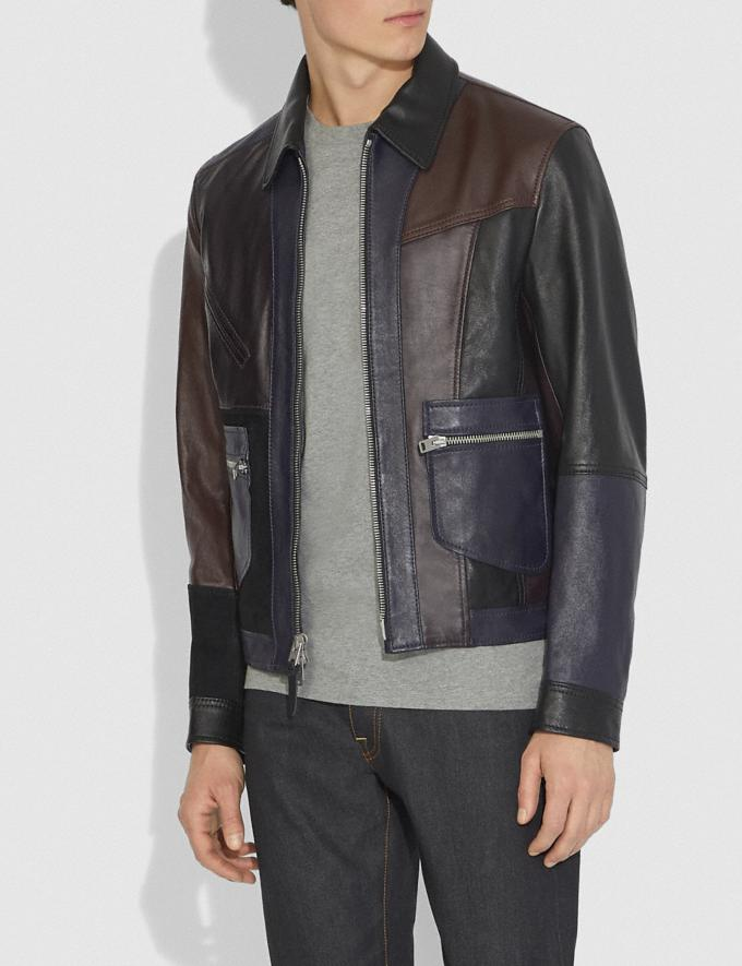 Coach Pieced Leather Jacket Berry  Alternate View 1