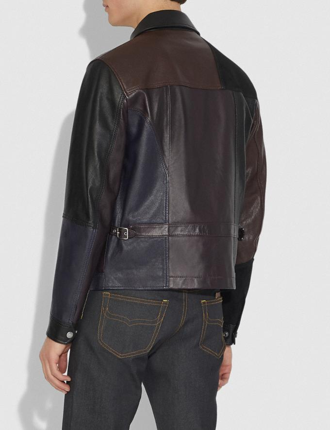 Coach Pieced Leather Jacket Berry Men Ready-to-Wear Coats & Jackets Alternate View 2