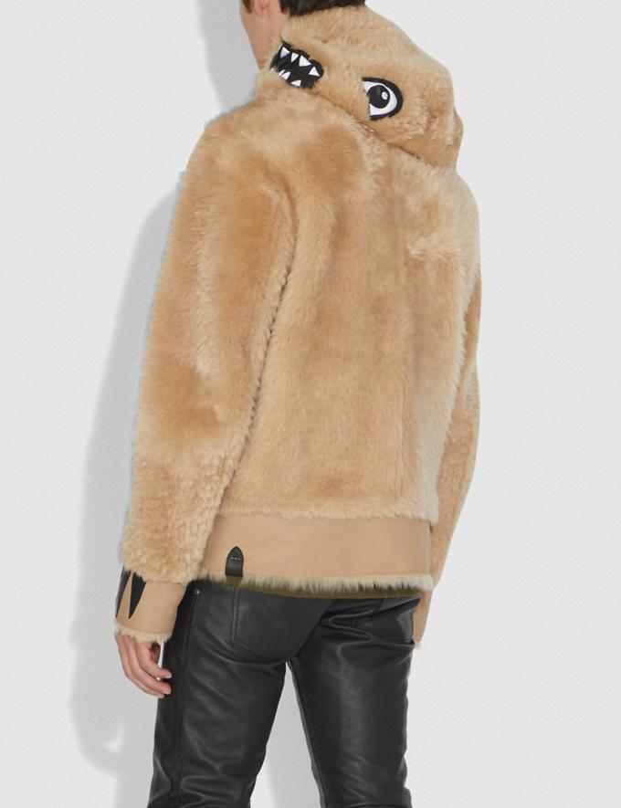 Coach Shearling Rexy Hoodie Dirty Chai Men Ready-to-Wear Tops & Bottoms Alternate View 2