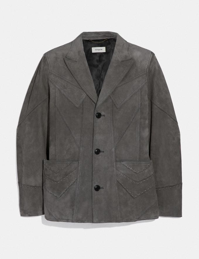 Coach Suede Blazer Grey New Men's New Arrivals Ready-to-Wear