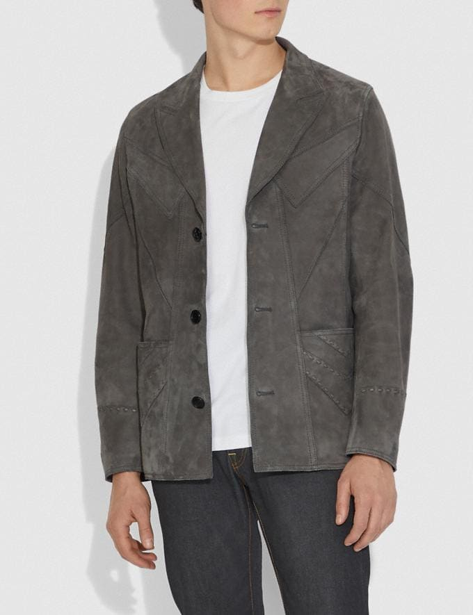 Coach Suede Blazer Grey New Men's New Arrivals Ready-to-Wear Alternate View 1