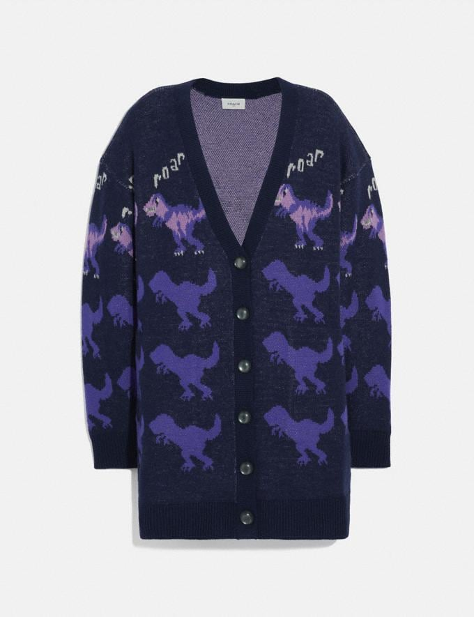 Coach Rexy Roar Cardigan Coat Purple Multi Women Ready-to-Wear Tops