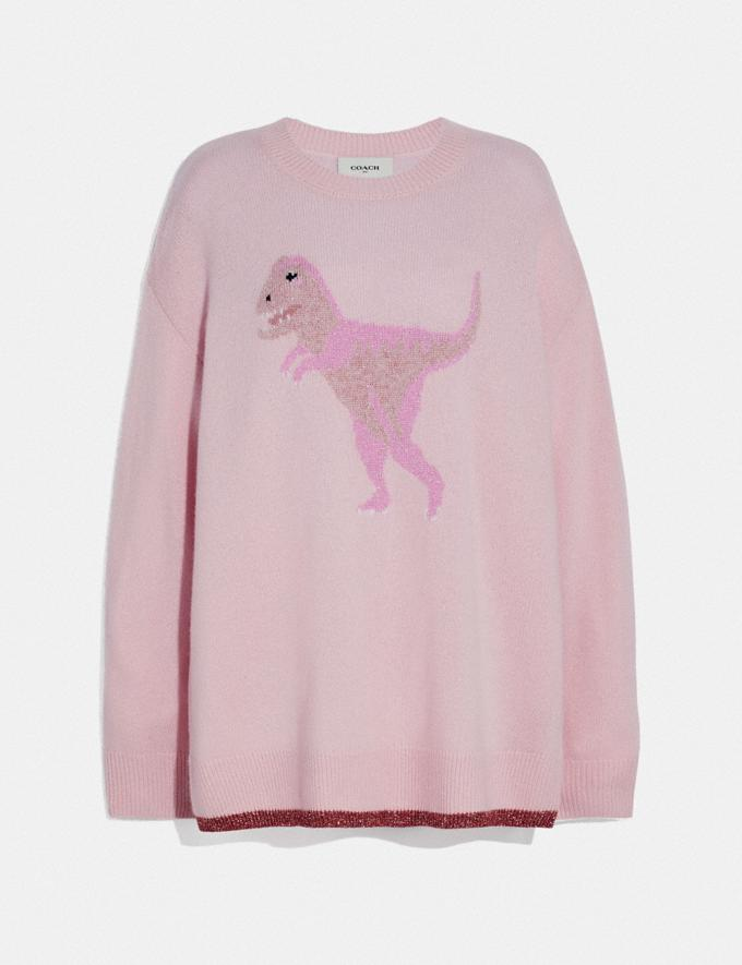 Coach Rexy Crew Neck Intarsia Sweater Pink Multi New Women's New Arrivals Ready-to-Wear