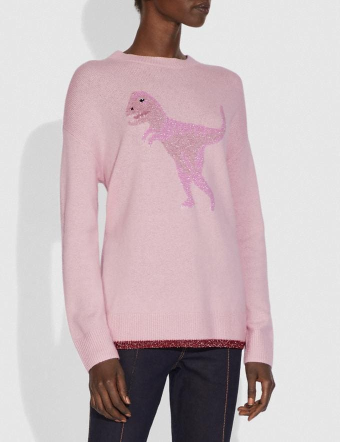 Coach Rexy Crew Neck Intarsia Sweater Pink Multi New Women's New Arrivals Ready-to-Wear Alternate View 1