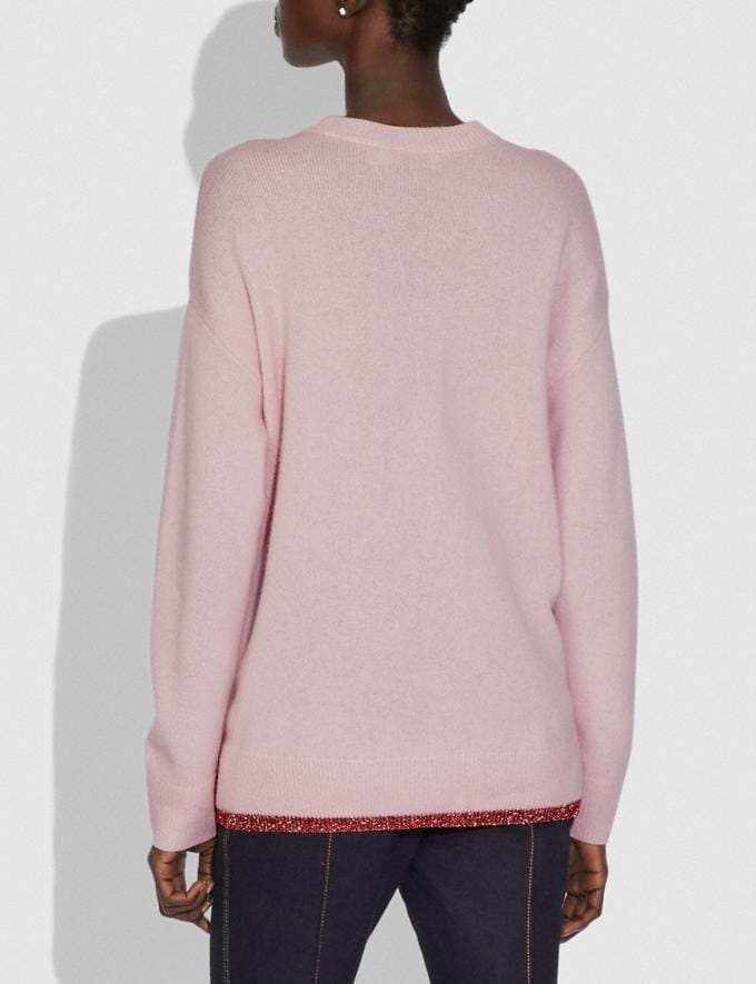 Coach Rexy Crew Neck Intarsia Sweater Pink Multi New Women's New Arrivals Ready-to-Wear Alternate View 2
