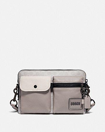 sac à bandoulière pacer modulable en toile exclusive avec pièce écusson coach