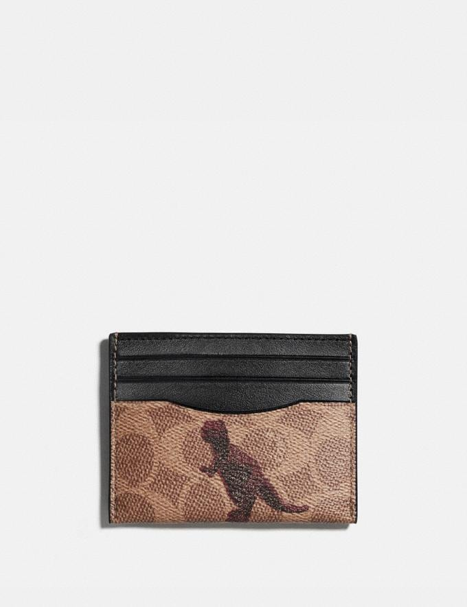 Coach Card Case in Signature Canvas With Rexy by Sui Jianguo Tan/Black/Pewter Women Wallets & Wristlets Card Cases