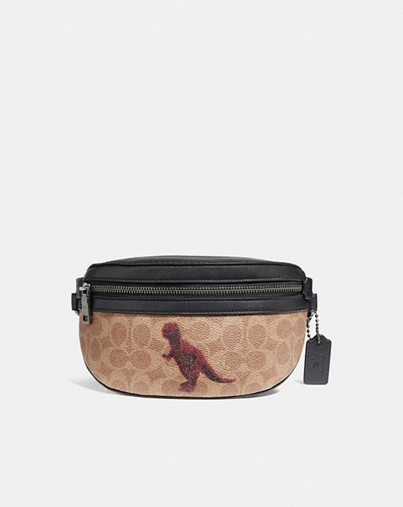 Coach BELT BAG IN SIGNATURE CANVAS WITH REXY BY SUI JIANGUO