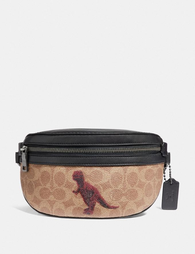 Coach Belt Bag in Signature Canvas With Rexy by Sui Jianguo Tan/Black/Pewter Women Handbags Belt Bags