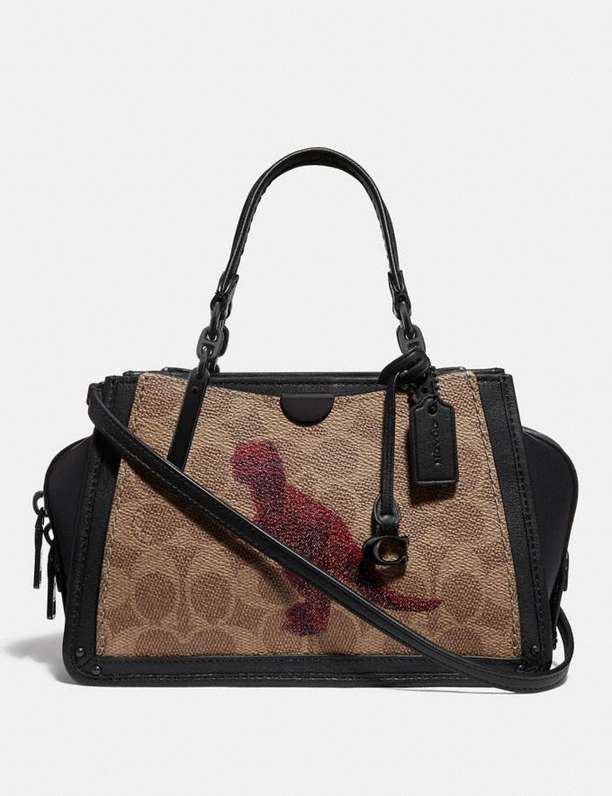 Coach Dreamer 21 in Signature Canvas With Rexy by Sui Jianguo Tan/Black/Pewter Women Collection Dreamer