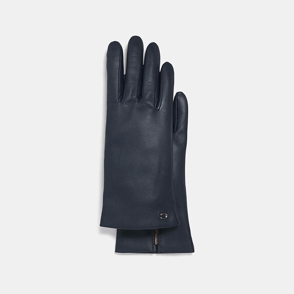 Sculpted Signature Leather Tech Gloves by Coach