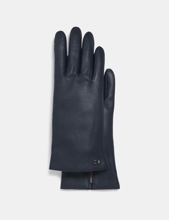 Coach Sculpted Signature Leather Tech Gloves Midnight Navy Women Accessories Scarves and Gloves