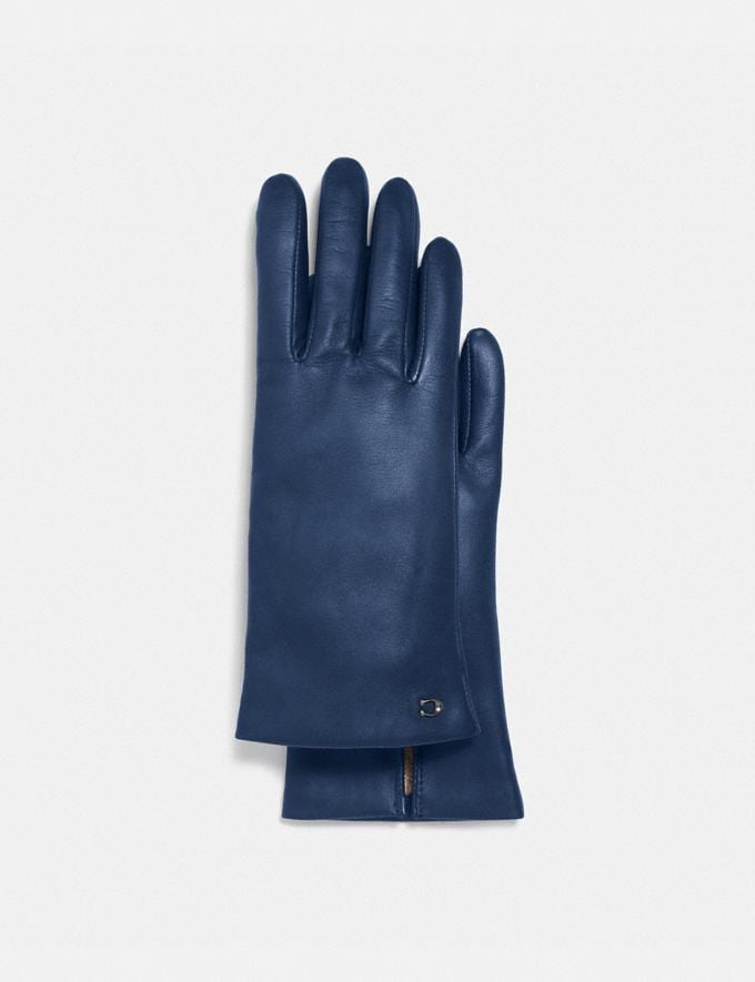 Coach Sculpted Signature Leather Tech Gloves Deep Blue Women Accessories Scarves and Gloves