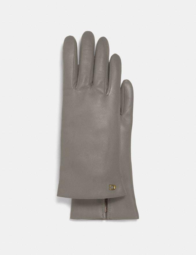 Coach Sculpted Signature Leather Tech Gloves Zinc Dust Women Accessories Hats, Scarves & Gloves