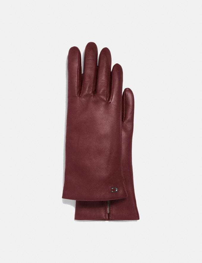 Coach Sculpted Signature Leather Tech Gloves Wine