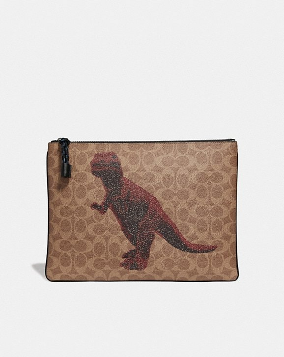 Coach POUCH 30 IN SIGNATURE CANVAS WITH REXY BY SUI JIANGUO