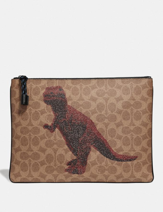 Coach Pouch 30 in Signature Canvas With Rexy by Sui Jianguo Khaki New Men's New Arrivals Accessories