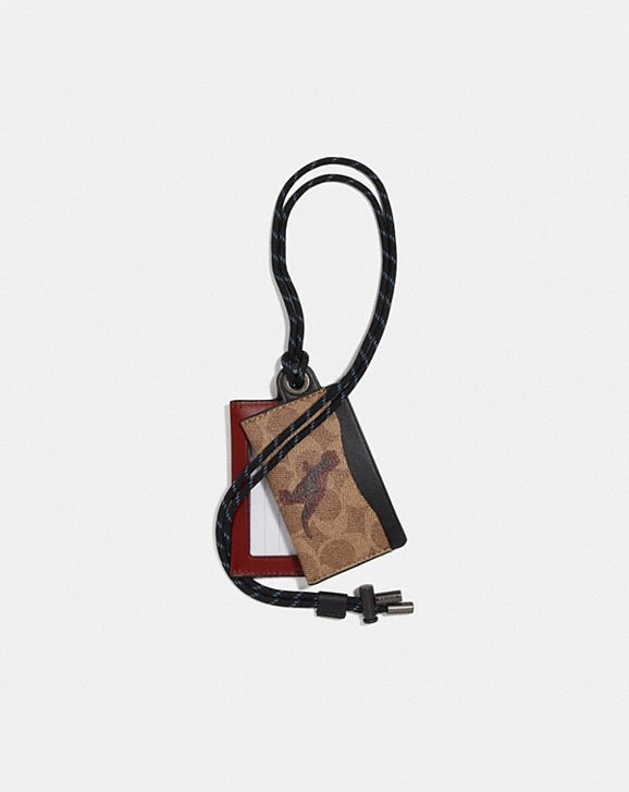 Coach ID LANYARD CARD CASE IN SIGNATURE CANVAS WITH REXY BY SUI JIANGUO