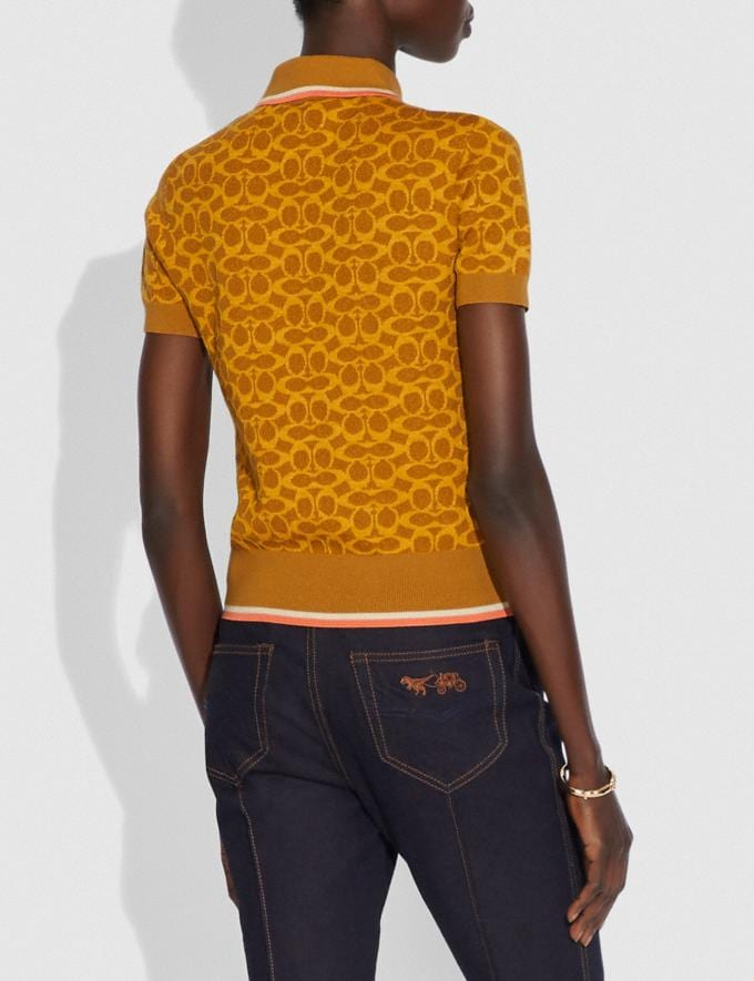 Coach Fitted Signature Polo Yellow Women Ready-to-Wear Tops Alternate View 2