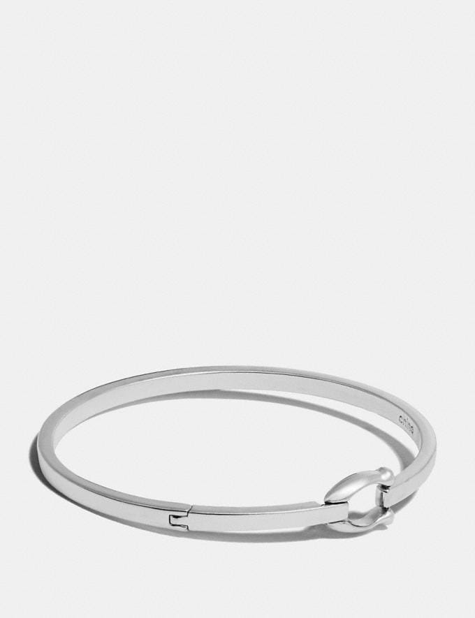 Coach Signature Hook Bangle Silver Women Accessories Jewellery Bracelets
