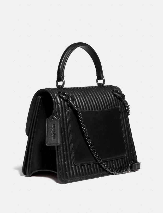 Coach Parker Top Handle With Quilting and Rivets Black Women Bags Satchels Alternate View 1