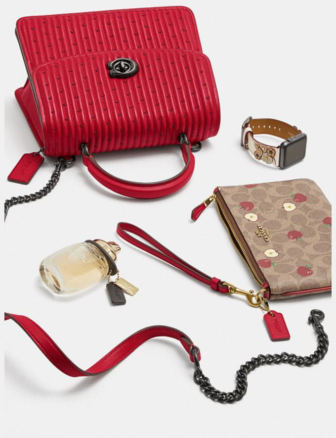 Coach Parker Top Handle With Quilting and Rivets Red Apple/Pewter Women Bags Satchels Alternate View 3