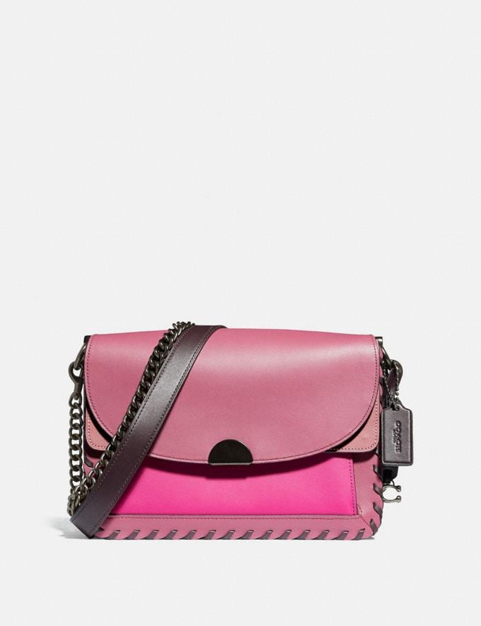 Coach Dreamer Shoulder Bag in Colorblock With Whipstitch True Pink Multi/Pewter Women Bags Shoulder Bags