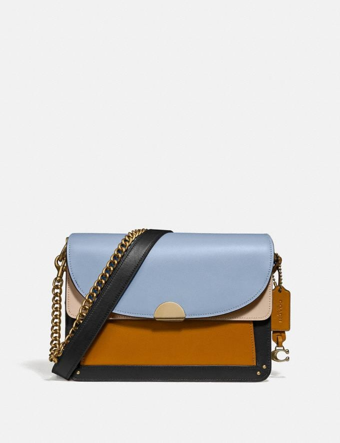 Coach Dreamer Shoulder Bag in Colorblock Mist Straw Multi/Brass Women Collection Dreamer
