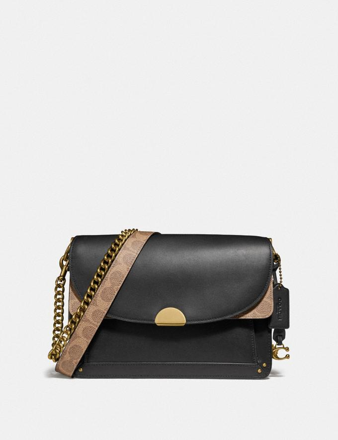 Coach Dreamer Shoulder Bag With Signature Canvas Blocking Tan Black/Brass New Featured Online Exclusives