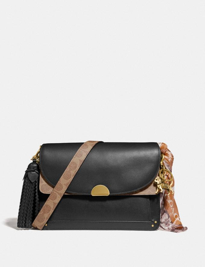 Coach Dreamer Shoulder Bag With Signature Canvas Blocking Tan Black/Brass New Featured Online Exclusives Alternate View 3