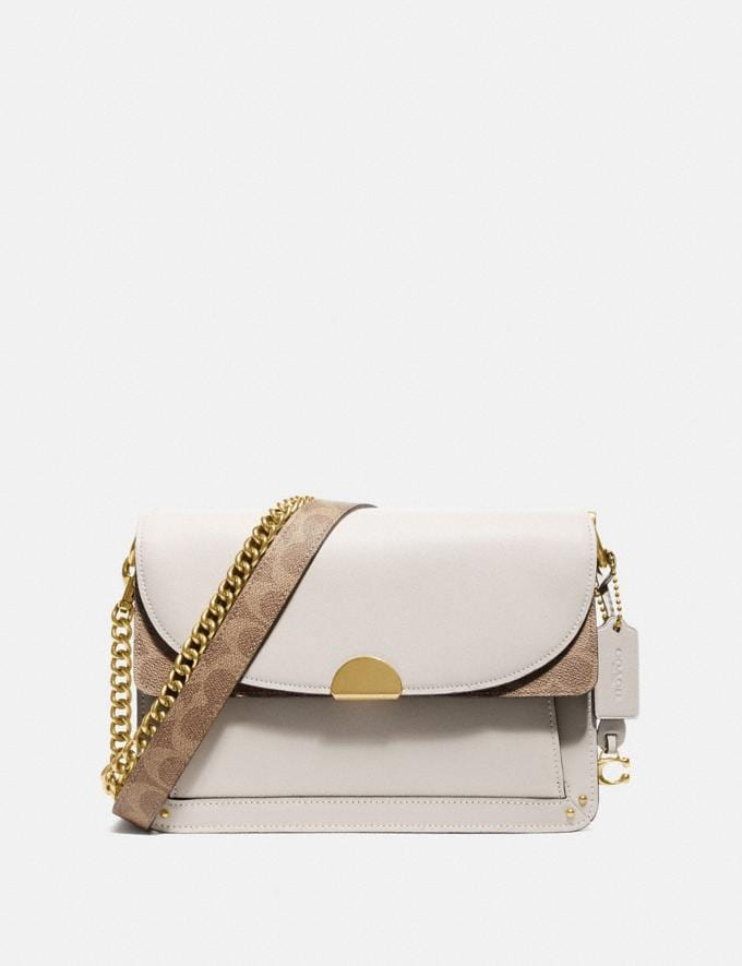 Coach Dreamer Shoulder Bag With Signature Canvas Blocking Tan Chalk/Brass Women Collection Dreamer