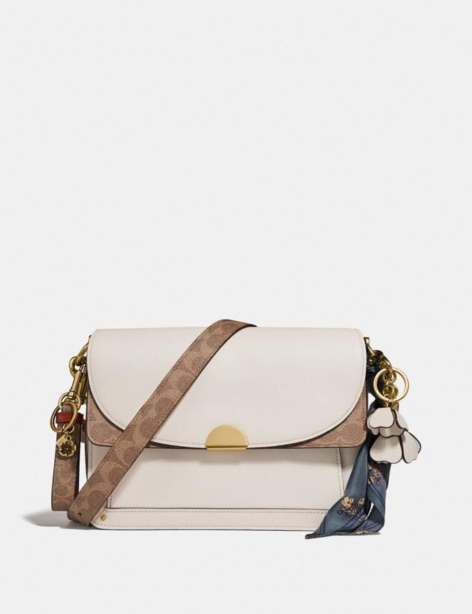 Coach Dreamer Shoulder Bag With Signature Canvas Blocking Tan Chalk/Brass New Featured Online Exclusives Alternate View 3