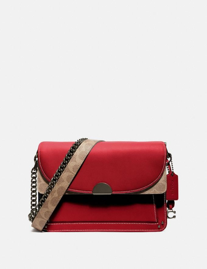 Coach Dreamer Shoulder Bag With Signature Canvas Blocking Tan Red Apple/Pewter New Featured Online Exclusives