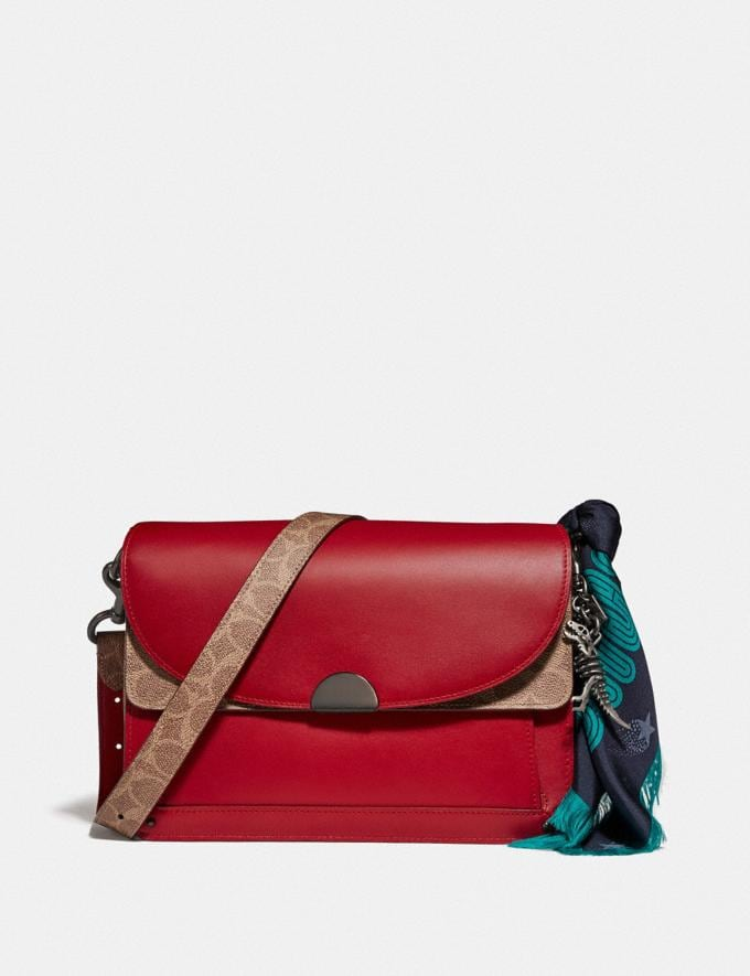 Coach Dreamer Shoulder Bag With Signature Canvas Blocking Tan Red Apple/Pewter New Featured Online Exclusives Alternate View 3