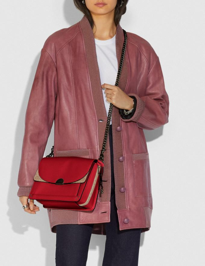 Coach Dreamer Shoulder Bag With Signature Canvas Blocking Tan Red Apple/Pewter New Featured Online Exclusives Alternate View 4